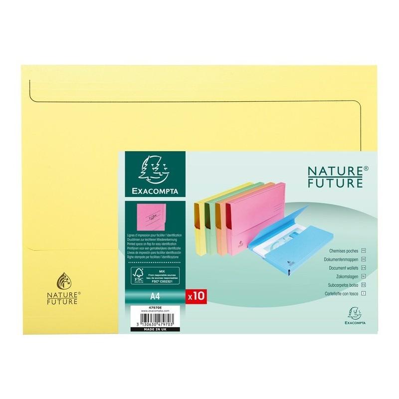 EXACOMPTA Paquet de 10 chemises à poche Nature Future, en carte jura 220g, assortis pastel