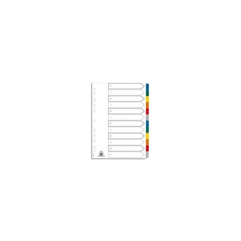 ELBA Jeu d'intercalaires 12 positions maxi format / pochettes carte blanche à onglets plastif couleur