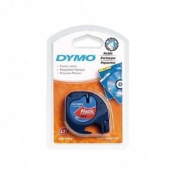 DYMO Cassette Ruban LetraTag Polyester 12 mm x 4 m Noir sur Rouge
