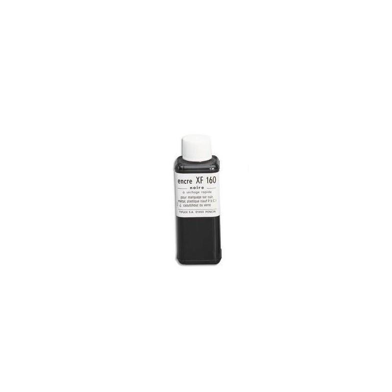 TIFLEX Encre à tampon grasse XF 160 pour timbres métalliques, flacon de 125ml noir