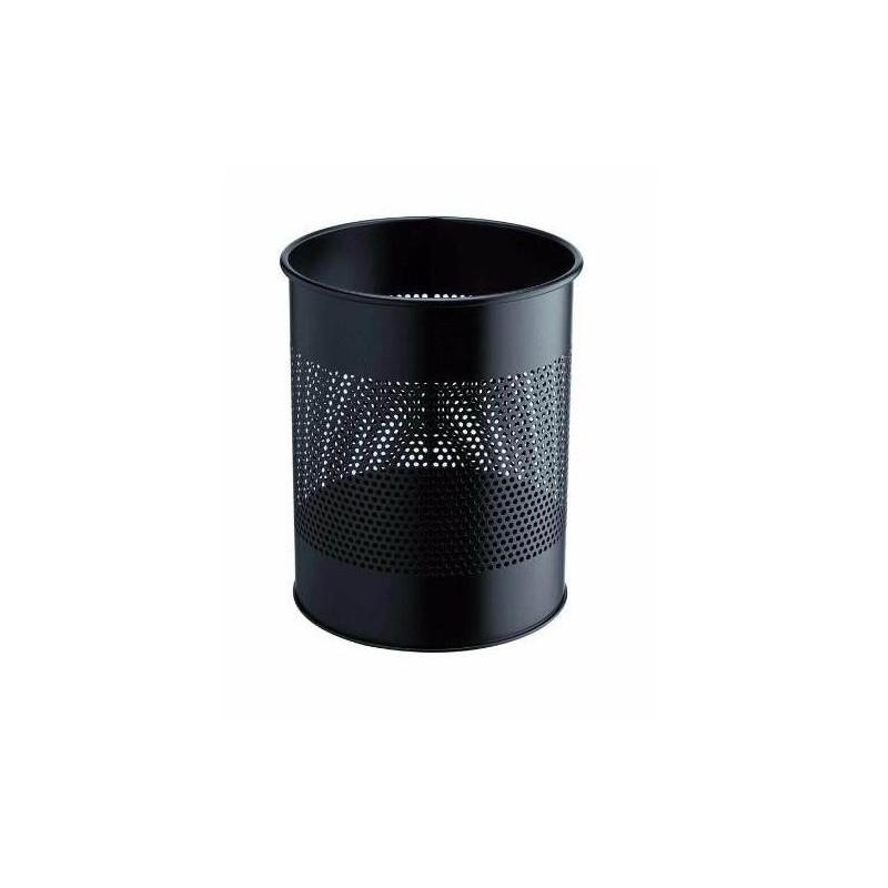 DURABLE Corbeille à papier métal ajourée 15 litres noir Diam 26 x H31,5 cm