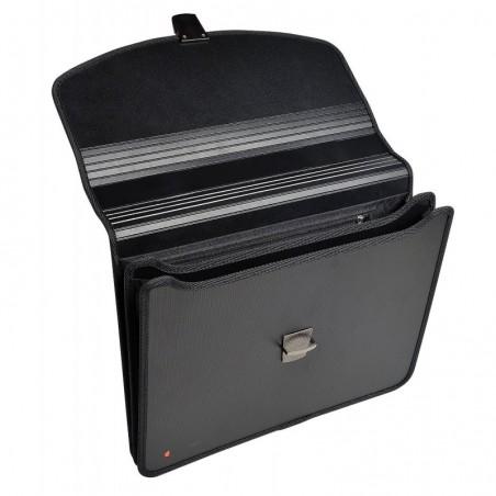 EXACOMPTA Valisette noire EXABAG avec poignée, 2 compartiments , Clip détachable pour clé USB