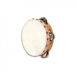 FUZEAU Tambourin en peau naturelle avec 4 cymbalettes 15 Cm