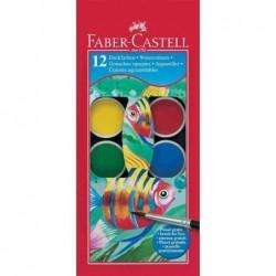 FABER-CASTELL Boite plastique de 12 pastilles de peinture gouaches + 1 pinceau