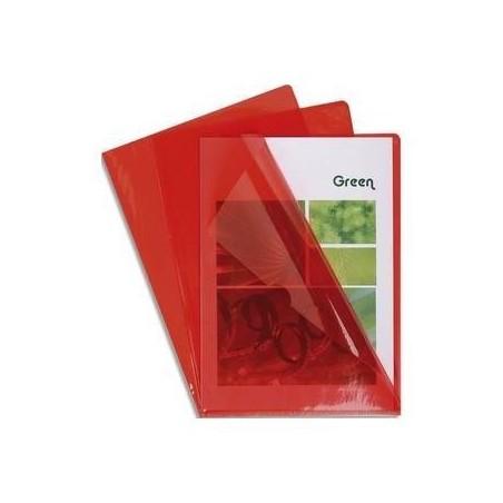 EXACOMPTA Boîte de 100 pochettes coin en PVC 14/100 ème. Coloris rouge.
