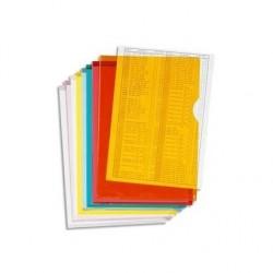 EXACOMPTA Boîte de 100 pochettes coin en PVC 14/100 ème. Coloris assortis.