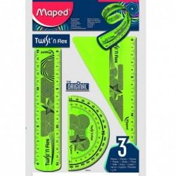 MAPED Kit 3 pièces TWIST 'N FLEX Règle Equerre Rapporteur Coloris Aléatoire