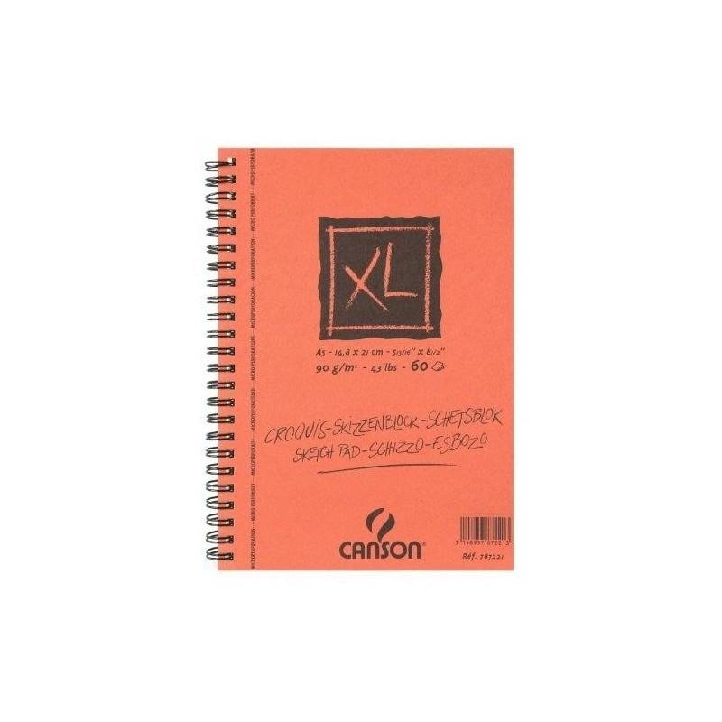 CANSON Bloc 60 feuilles papier dessin CROQUIS XL spirale grand côté 90g A5