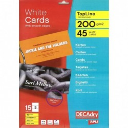 DECADRY Pochette 45 cartes de visite blanches TopLine 200g 210 x 99 mm