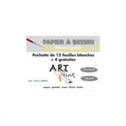 ART PLUS Pochette de 12 feuilles+4 gratuites dessin 180g format 24x32cm
