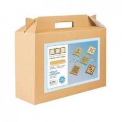 CCB Kit 12 sous-verre 9 X 9 cm à décorer avec mosaïque 1 x 1 cm assortie fournie