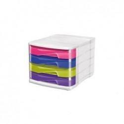 CEP Module de classement TONIC en polystyrène. 4 tiroirs assortis : Rose, Bleu, Lilas, Anis