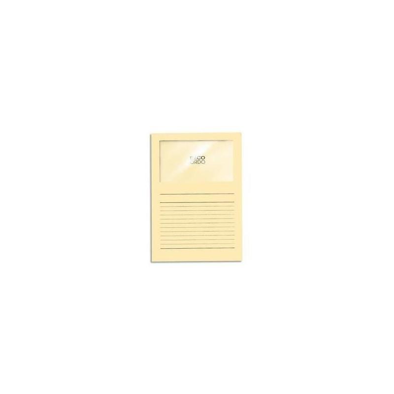 Boîte de 100 pochettes coins en carte 120g, avec fenêtre, 22x31cm, jaune pastel