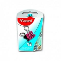 MAPED Boite de 12 pinces clip largeur 15mm coloris assortis