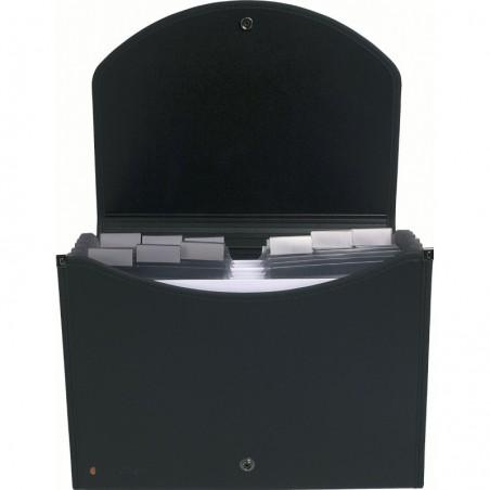 EXACOMPTA Trieur valisette noir en13 compartiments.Dos extensible 55934E