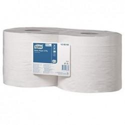 TORK Lot de 2 bobines d'essuyage Basic dévidage central 2 plis 1000 formats 350m blanc