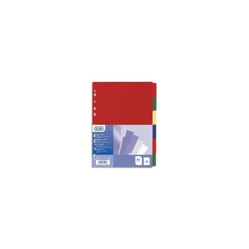 ELBA Jeu de 6 intercalaires polypro 3/10e format A4+ opaque coloré