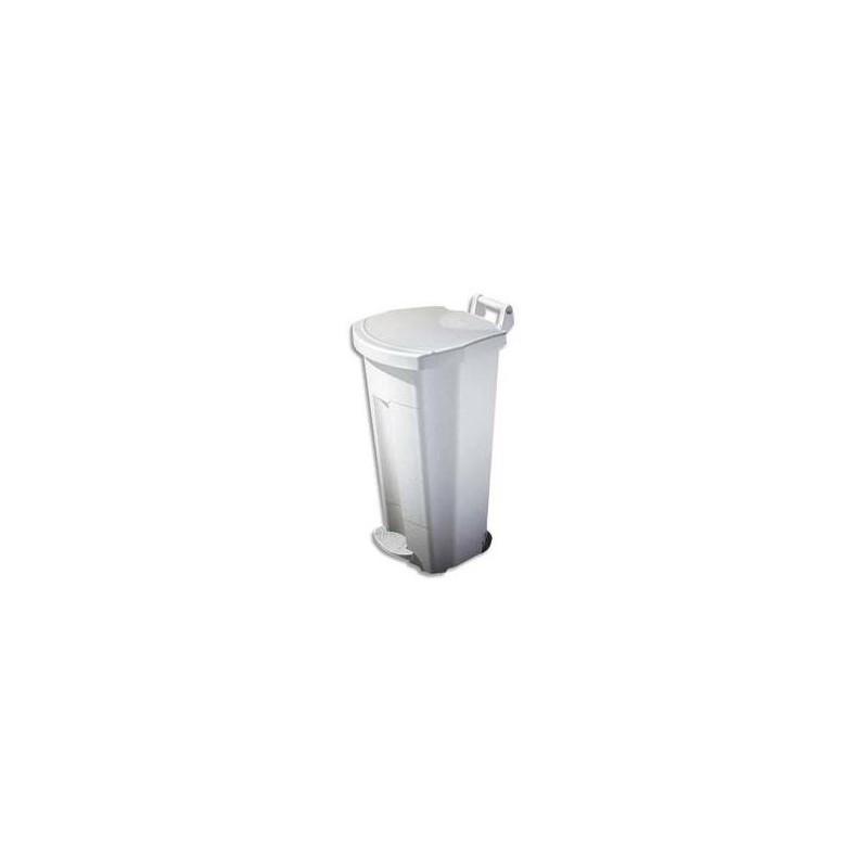 ROSSIGNOL Poubelle mobile à pédale 90L Blanc plastique basic