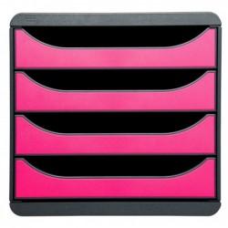 MULTIFORM Bloc de classement BIG-BOX 4 Tiroirs A4+ 55 mm Gris souris / Framboise