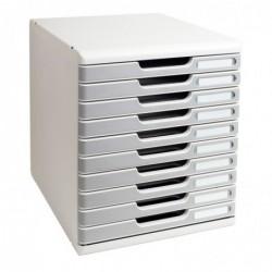 EXACOMPTA Bloc de classement Modulo 10 tiroirs A4+ 26 mm Gris / Granit