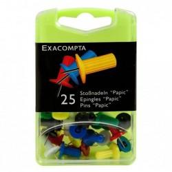 EXACOMPTA Boîte de 25 épingles Papic hauteur 7mm 10mm de diamètre Couleurs assorties