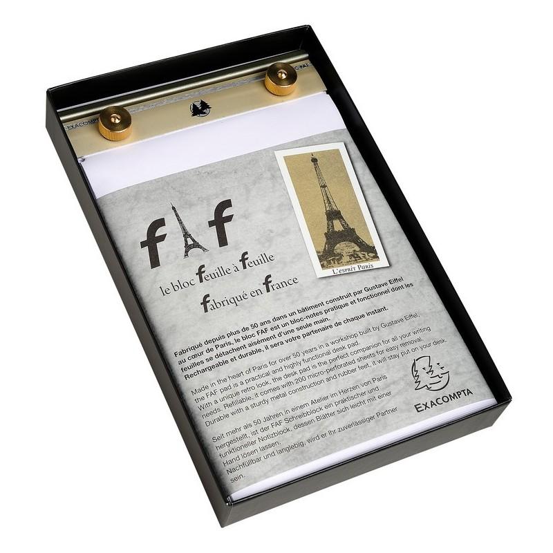 EXACOMPTA Socle FAF N°3, format 18,5X11,5cm en tôle aluminium avec recharge papier uni