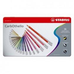 STABILO Boîte métal de 36 Crayon de couleur Fusain Pastel CarbOthello