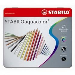 STABILO Boîte métal de 24 crayons de couleur Aquarellable AQUACOLOR Mine 2,8 mm