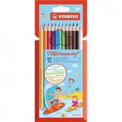 STABILO Etui carton de 12 crayons de couleur Aquarellable AQUACOLOR Mine 2,8 mm
