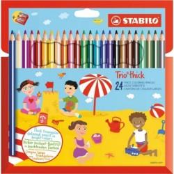 STABILO Etui de 24 Crayons de couleur Trio Triangulaire large avec taille-crayon assorties