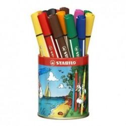 STABILO Godet de 16 Feutre coloriage Trio Scribbi Triangulaire Pte Large 8 couleurs