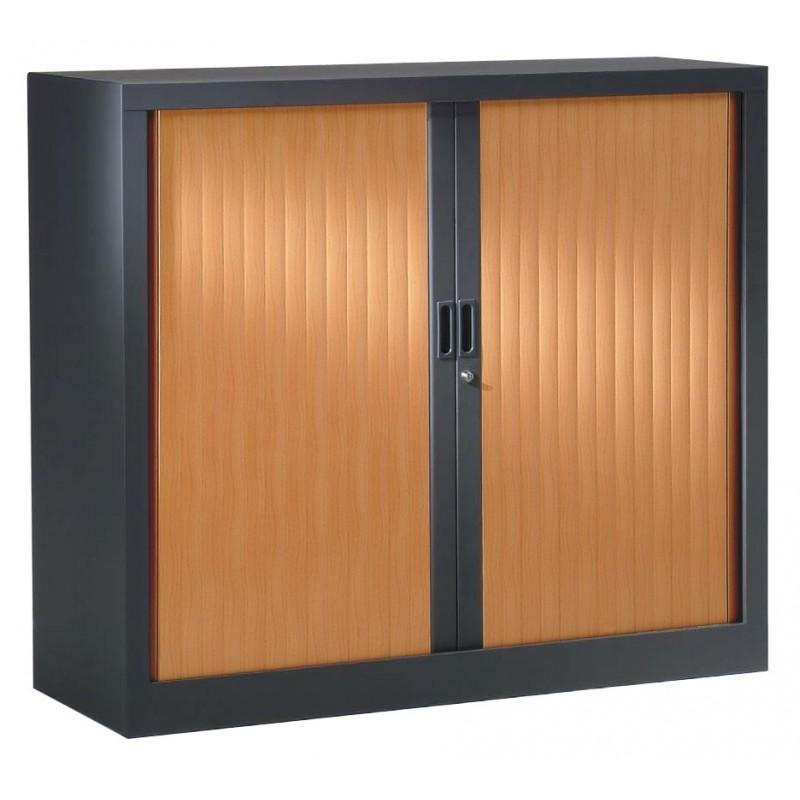 VINCO Armoire Monobloc H100xL120xP43 cm 2 Tablettes Anthracite Rideaux Pommier de France