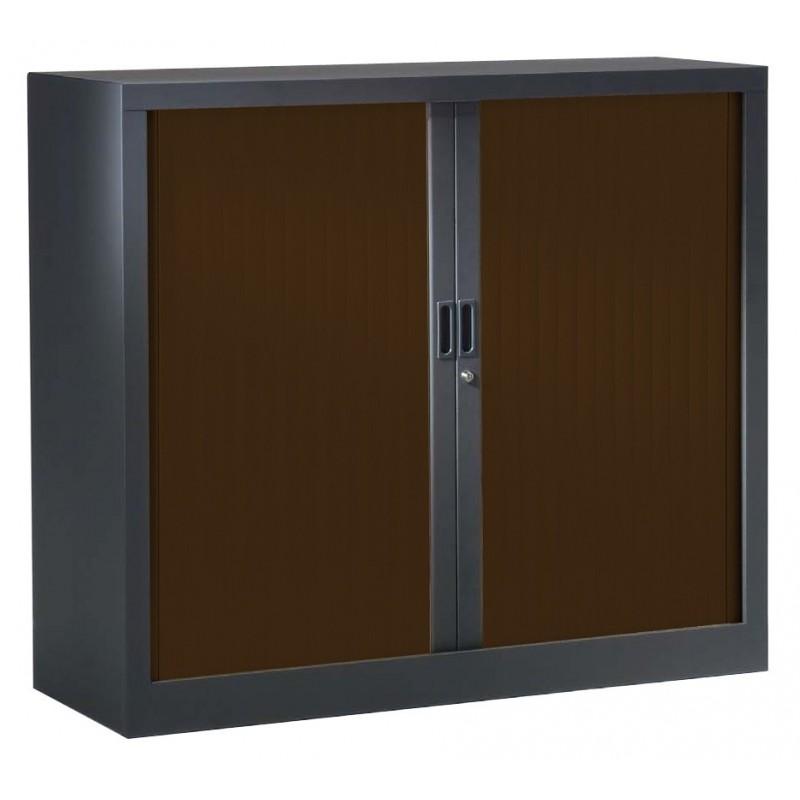 VINCO Armoire Monobloc H 70xL100xP43 cm 1 Tablette Anthracite Rideaux Wengé