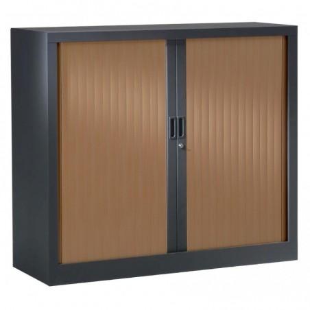 VINCO Armoire Monobloc H 70xL100xP43 cm 1 Tablette Anthracite Rideaux Poirier Foncé