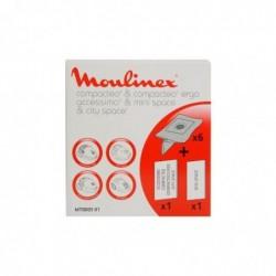 MOULINEX Pochette 6 Sacs Papier + 1 Microfiltre Compactéo (remplacé par ZR003901)