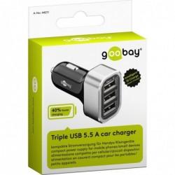 GOOBAY Chargeur de voiture Triple USB 5,5 A 12/24V Noir Argent