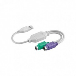 GOOBAY Convertisseur Adaptateur USB A vers 2 x PS/2 Blanc