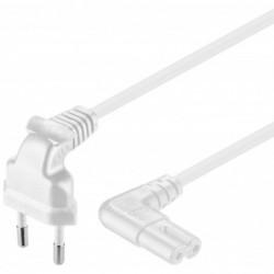 GOOBAY Cordon Electrique Euro plug C CEE 7/16)  Femelle C7 2 x Coudé1 m Blanc