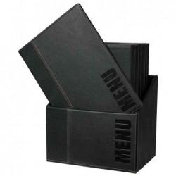 SECURIT Lot de 20 Protège-menus Trendy Insert Double dans une boîte A4 Noir