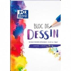 OXFORD Bloc Dessin Polypro A4 210X297 mm 100 Pages Perforé 4 Trous 90g Uni