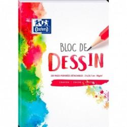 OXFORD Bloc Dessin Polypro A4 210X297 mm 200 Pages Perforé 4 Trous 90g Uni
