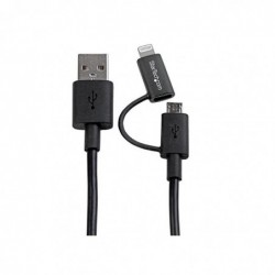 TARTECH.COM Câble Lightning 8 broches ou Micro USB vers USB de 1 m - Cordon de charge / sync pour iPhone / iPod / iPad - M/M...