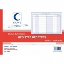 ELVE Manifol AUTO ENTREPRENEURS RECETTES 210 x 297 mm 40 Feuillets Dupli