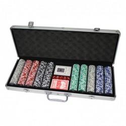 Malette de poker en alu + 500 jetons (Jetons non marqués, 11,5g)
