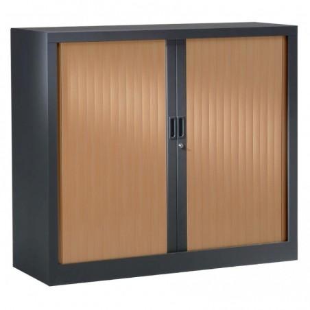 VINCO Armoire Monobloc H100xL 80xP43 cm 2 Tablettes Anthracite Rideaux Poirier Rosé