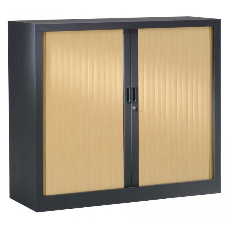 VINCO Armoire Monobloc H100xL 80xP43 cm 2 Tablettes Anthracite Rideaux Chêne Clair