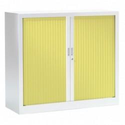 VINCO Armoire Monobloc FUN H100xL120xP43 cm 2 Tablettes Blanc Rideaux Anis