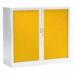 VINCO Armoire Monobloc FUN H100xL120xP43 cm 2 Tablettes Blanc Rideaux Jaune