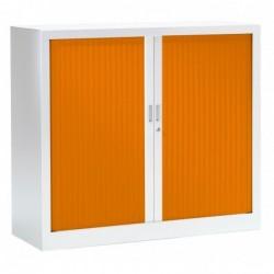VINCO Armoire Monobloc FUN H100xL120xP43 cm 2 Tablettes Blanc Rideaux Orange