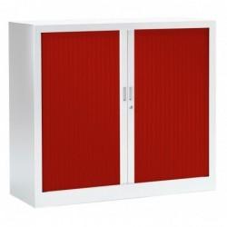 VINCO Armoire Monobloc FUN H100xL120xP43 cm 2 Tablettes Blanc Rideaux Rouge